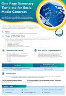 One Page Summary Template For Social Media Contract Presentation Report Infographic PPT PDF Document