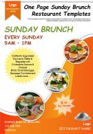 One Page Sunday Brunch Restaurant Templates Presentation Report Infographic PPT PDF Document