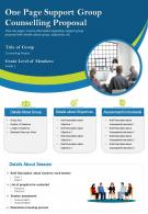 One Page Support Group Counselling Proposal Presentation Report Infographic PPT PDF Document