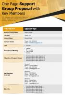 One Page Support Group Proposal With Key Members Presentation Report Infographic PPT PDF Document