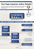 One Page Suspense Author Website Presentation Report Infographic PPT PDF Document