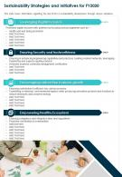 One Page Sustainability Strategies And Initiatives For Fy2020 Report Infographic PPT PDF Document