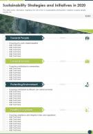 One Page Sustainability Strategies And Initiatives In 2020 Infographic PPT PDF Document