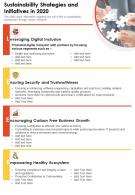 One Page Sustainability Strategies And Initiatives In 2020 Template 122 Report Infographic PPT PDF Document