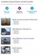 One Page Sustainable Transport Solutions With Electromobility Infographic PPT PDF Document