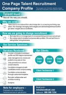 One Page Talent Recruitment Company Profile Presentation Report Infographic PPT PDF Document
