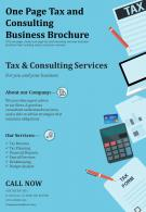 One Page Tax And Consulting Business Brochure Presentation Report Infographic PPT PDF Document