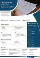 One Page Team Performance Improvement Plan Presentation Report Infographic PPT PDF Document