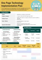 One Page Technology Implementation Plan Presentation Report Infographic PPT PDF Document