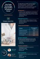 One Page Technology Upgradation Investment Teaser Presentation Report Infographic PPT PDF Document