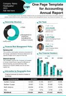 One Page Template For Accounting Annual Report Presentation Report Infographic PPT PDF Document