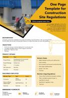 One Page Template For Construction Site Regulations Presentation Report Infographic PPT PDF Document