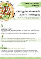 One Page Text Wrap Article Layout For Food Blogging Presentation Report Infographic PPT PDF Document