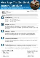 One Page Thriller Book Report Template Presentation Report Infographic PPT PDF Document