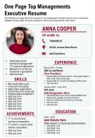 One Page Top Managements Executive Resume Presentation Report Infographic PPT PDF Document