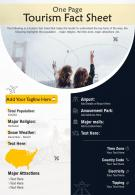 One Page Tourism Fact Sheet Presentation Report Infographic PPT PDF Document