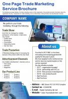 One Page Trade Marketing Service Brochure Presentation Report Infographic PPT PDF Document