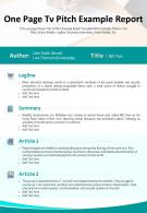 One Page Tv Pitch Example Report Presentation Report Infographic PPT PDF Document