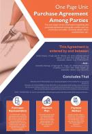 One Page Unit Purchase Agreement Among Parties Presentation Report Infographic PPT PDF Document