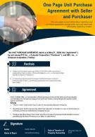 One Page Unit Purchase Agreement With Seller And Purchaser Presentation Report Infographic PPT PDF Document