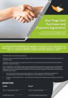 One Page Unit Purchase And Payment Agreement Presentation Report Infographic PPT PDF Document