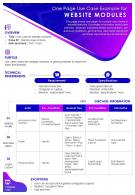 One Page Use Case Example For Website Modules Presentation Report Infographic PPT PDF Document