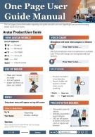 One Page User Guide Manual Presentation Report Infographic PPT PDF Document