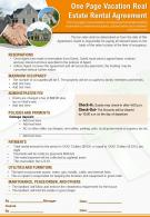 One Page Vacation Real Estate Rental Agreement Presentation Report Infographic PPT PDF Document