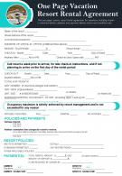 One Page Vacation Resort Rental Agreement Presentation Report Infographic PPT PDF Document