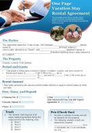 One Page Vacation Stay Rental Agreement Presentation Report Infographic PPT PDF Document