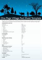 One Page Village Fact Sheet Template Presentation Report Infographic PPT PDF Document