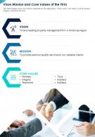 One Page Vison Mission And Core Values Of The Firm Presentation Report Infographic PPT PDF Document