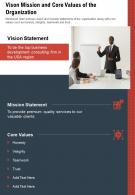 One Page Vison Mission And Core Values Of The Organization Report Infographic PPT PDF Document