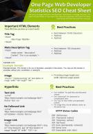 One Page Web Developer Statistics SEO Cheat Sheet Presentation Report PPT PDF Document