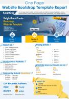 One Page Website Bootstrap Template Report Presentation Report PPT PDF Document