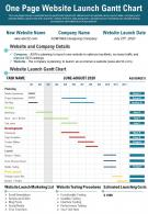 One Page Website Launch Gantt Chart Presentation Report Infographic PPT PDF Document