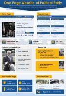 One Page Website Of Political Party Presentation Report Infographic PPT PDF Document