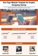 One Page Website Template For Graphic Designing Startup Presentation Report Infographic PPT PDF Document