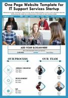 One Page Website Template For It Support Services Startup Presentation Report Infographic PPT PDF Document