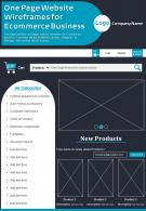 One Page Website Wireframes For Ecommerce Business Presentation Report PPT PDF Document