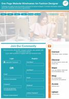 One Page Website Wireframes For Fashion Designer Presentation Report PPT PDF Document