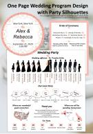 One Page Wedding Program Design With Party Silhouettes Presentation Report Infographic PPT PDF Document