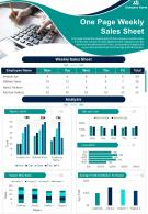 One Page Weekly Sales Sheet Presentation Report Infographic PPT PDF Document