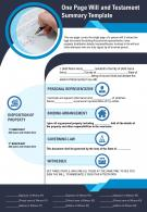 One Page Will And Testament Summary Template Presentation Report Infographic PPT PDF Document