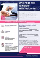 One Page Will Template With Testament Presentation Report Infographic PPT PDF Document