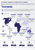One Page Worldwide Operations Details Of The Company Presentation Report Infographic PPT PDF Document