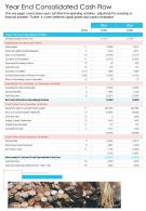 One Page Year End Consolidated Cash Flow Presentation Report Infographic PPT PDF Document
