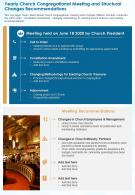 One Page Yearly Church Congregational Meeting And Structural Changes Recommendations PPT PDF Document