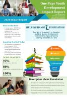 One Page Youth Development Impact Report Presentation Report Infographic PPT PDF Document