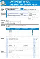 One Pager 1040a Income Tax Return Form Presentation Report Infographic PPT PDF Document